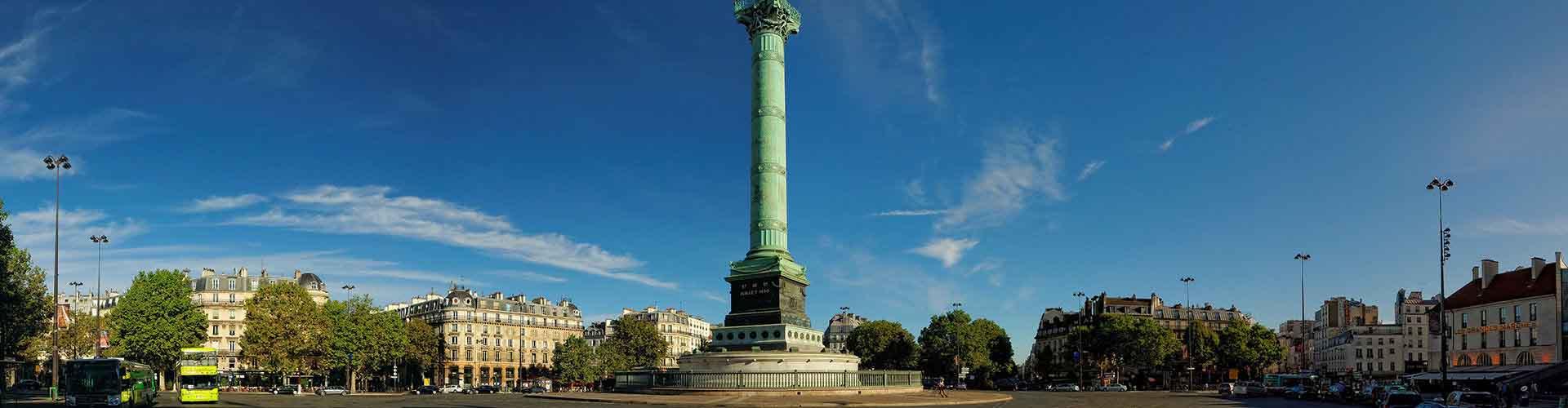 Paris – Hostels im Stadtteil Bastille-Viertel. Paris auf der Karte. Fotos und Bewertungen für jedes Hostel in Paris.