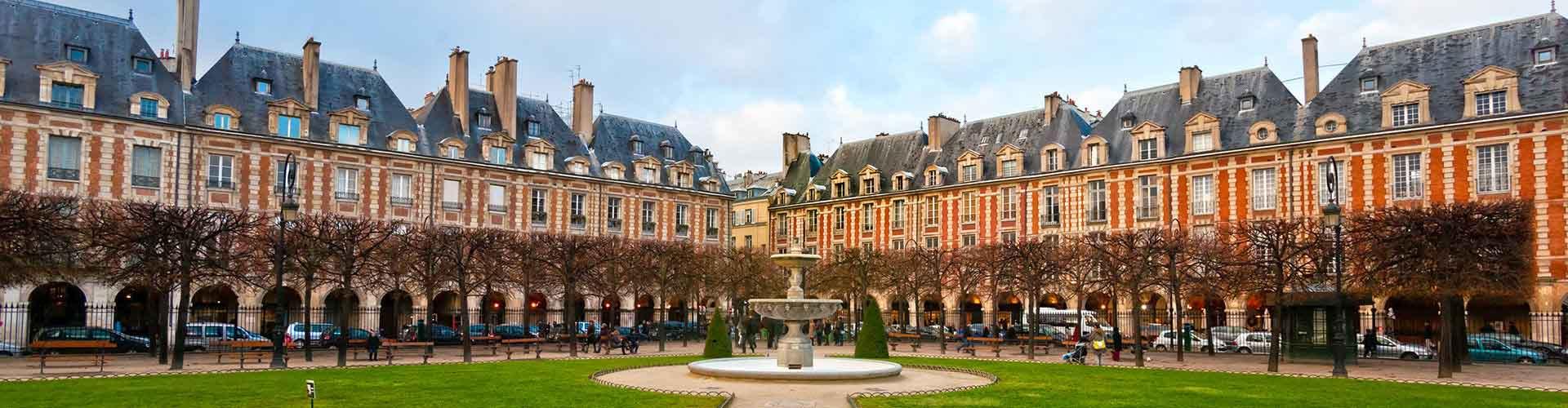 Paris – Hostels in der Nähe von Place des Vosges. Paris auf der Karte. Fotos und Bewertungen für jedes Hostel in Paris.