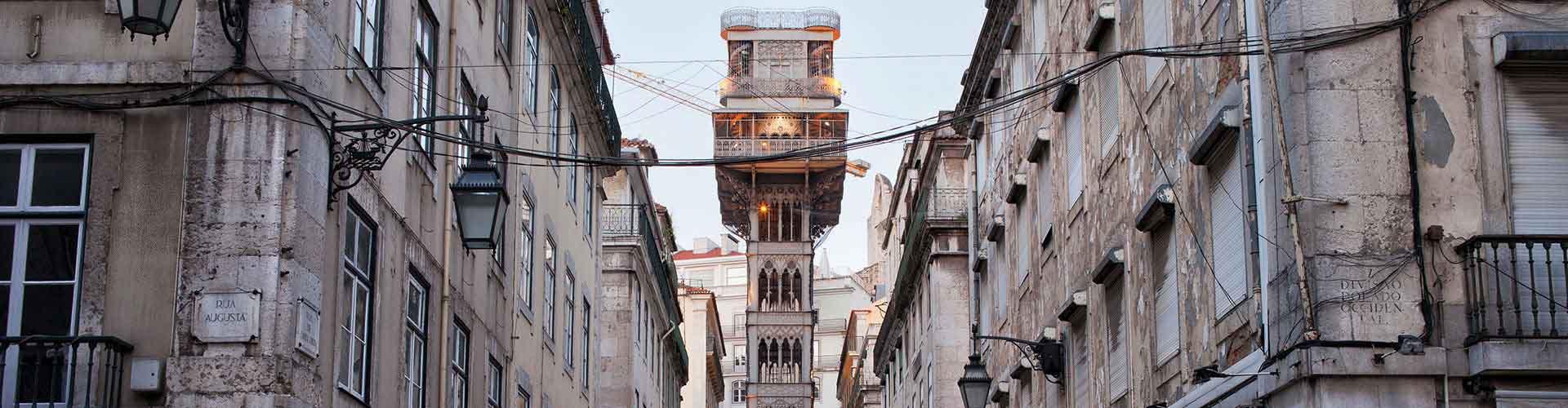 Lissabon – Hostels in der Nähe von Aufzug Santa Justa. Lissabon auf der Karte. Fotos und Bewertungen für jedes Hostel in Lissabon.